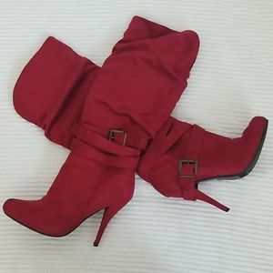 Chrisrina Shoe Dazzle Ankle High Boots- Red Wine